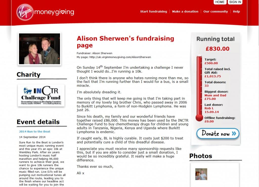 Ali's run VMG page 2014